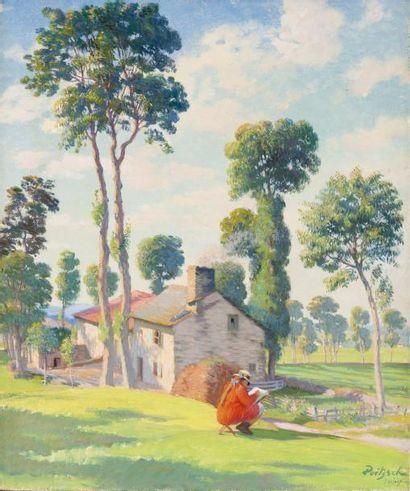 Jeune fille dessinant près d'une maison,...