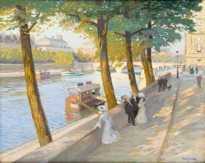 Promeneurs sur les quais de Seine devant...