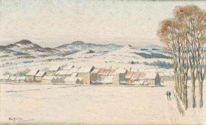 Neige à Yssingeaux Huile sur carton, signée,...