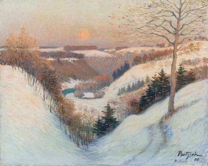Neige à Fribourg Huile sur toile, signée...