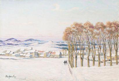 Yssingeaux sous la neige Huile sur toile,...