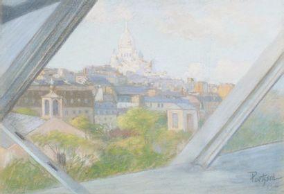 Vue sur le Sacré-Cœur, Paris Pastel, signé...