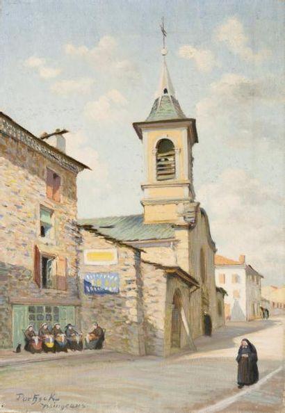 Eglise et rue à Yssingeaux Huile sur toile,...