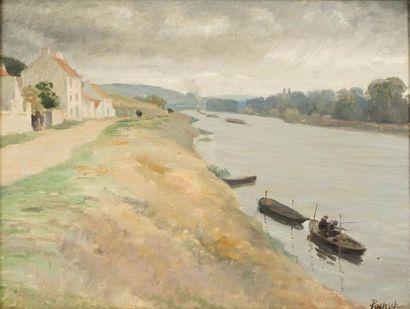 Pêcheur sur la Seine à Rangiport Huile sur...
