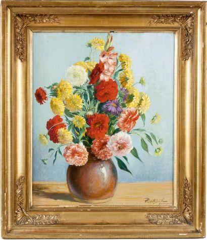 Vase de fleurs Huile sur toile, signée en...