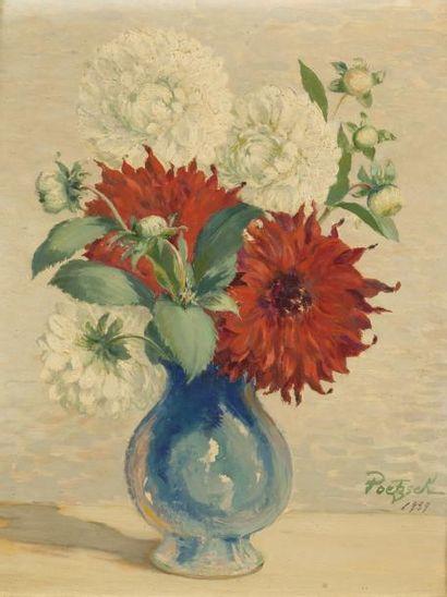 • Vase de roses  Huile sur carton, signée...