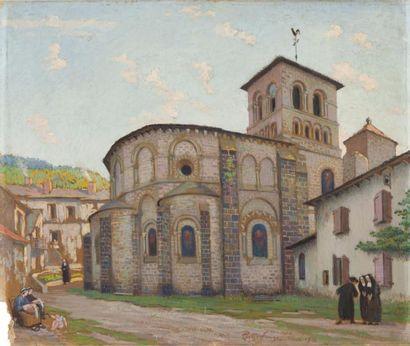 Eglise de Chamalières Huile sur carton, signée,...