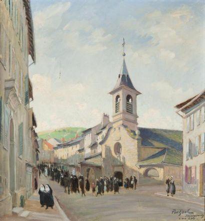 La sortie de la messe à Yssingeaux Huile...