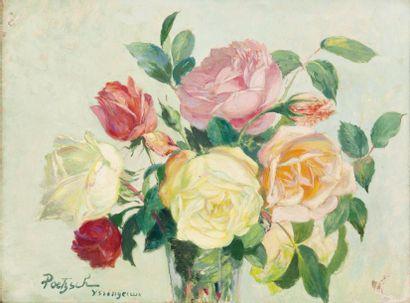 Vase de roses Huile sur carton, signée, située...