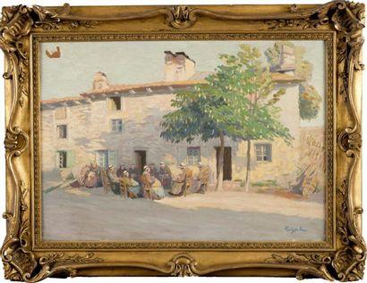 Les dentellières devant une maison à Yssingeaux...
