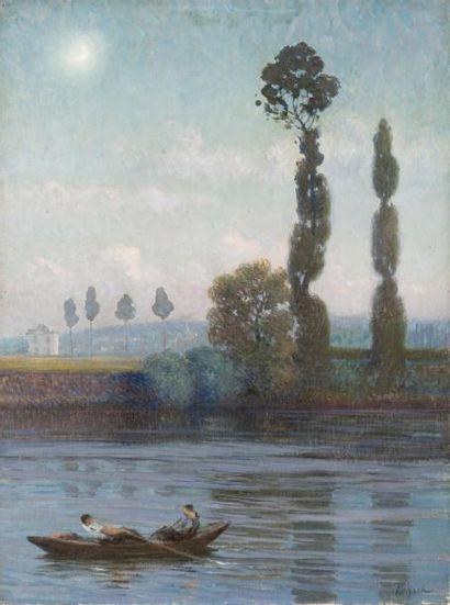 Peupliers bord de rivière Huile sur toile,...