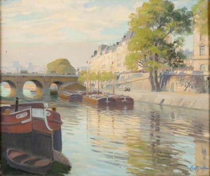 Péniche sur la Seine Huile sur toile, signée...