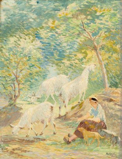La gardienne de chèvres d'Yssingeaux Huile...
