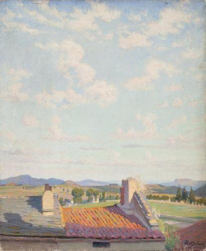 Les toits d'Yssingeaux Huile sur toile, signée...