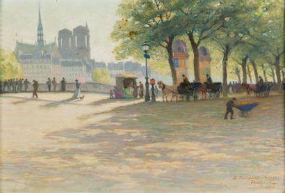 Calèches sur le pont Louis-Philippe, Paris...