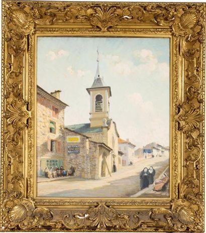 Dentellières au pied du clocher à Yssingeaux...