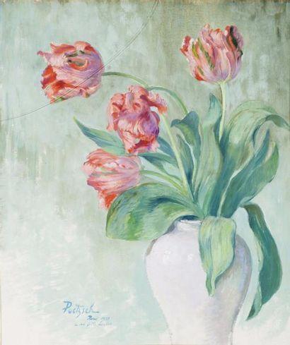 Vase de tulipes en faience blanche Huile...
