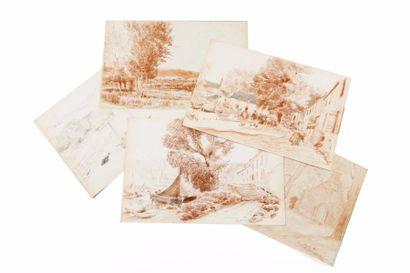 Sainte-Marine, Plestin Lot de dix dessins,...