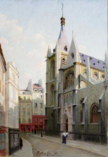 Eglise Saint Séverin Huile sur toile, signée...