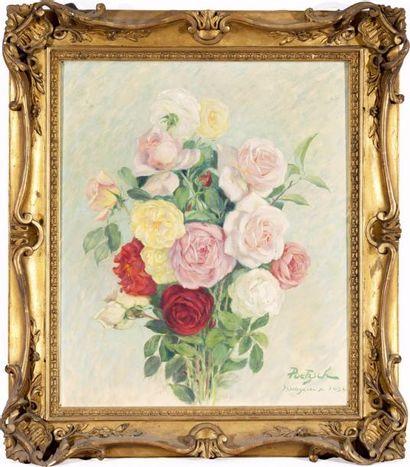 Bouquet de roses Huile sur toile, signée,...
