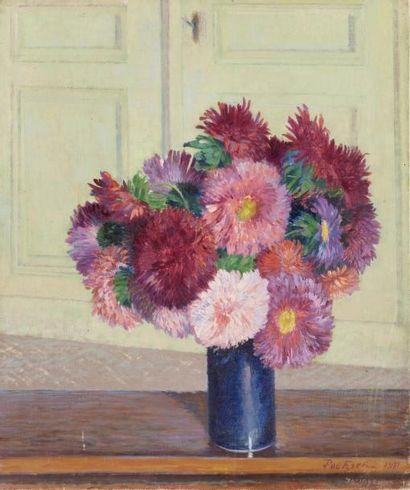 Bouquet de dahlias Huile sur toile, signée...