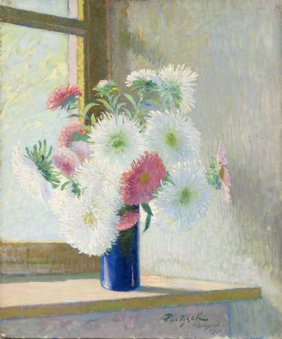 Vase de chrysanthèmes Huile sur toile, signée...