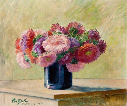Vase de chrysanthèmes Huile sur toile, signée,...