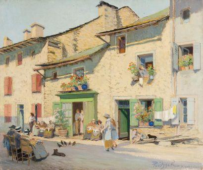 Dentellières dans une rue d'Yssingeaux Huile...