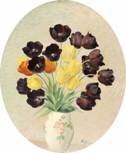 Vase de tulipes Huile ovale sur toile, signée...