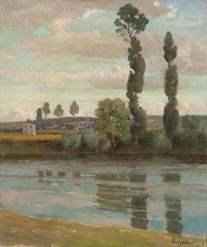 Peupliers en bord de rivière Huile sur toile,...
