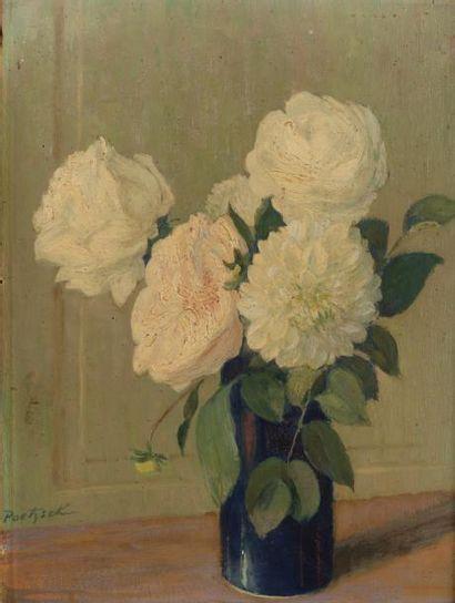 Vase de roses Huile sur panneau, signée en...