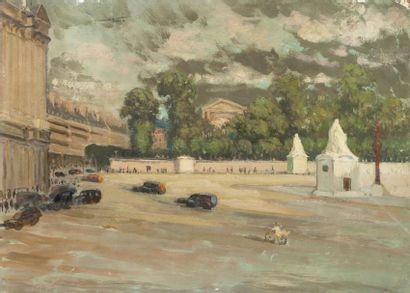 Place de la Concorde Ensemble de 2 huiles...