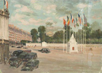 Place de la Concorde Ensemble de 2 huiles sur carton, signées. 23 x 33cm