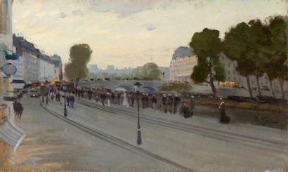 Foule sur les quais de Seine, Paris vers...