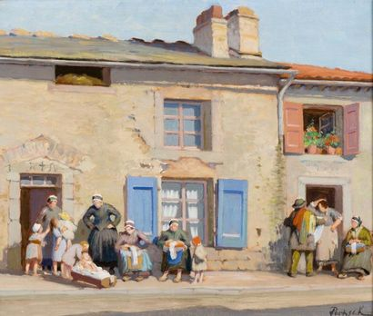 Dentellières et familles devant une maison...