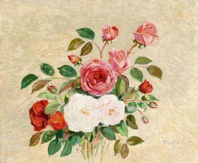 Les roses Huile sur carton, signée, située,...