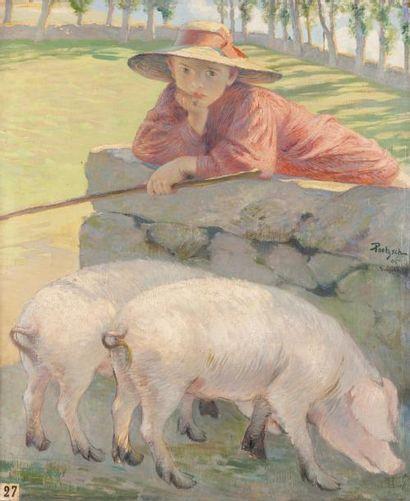 La gardienne de cochon Huile sur toile, signée...