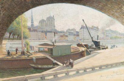 Sous le pont Louis-Philippe Huile sur carton,...