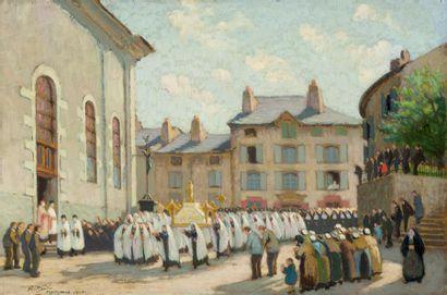 • Procession du 15 août à Yssingeaux  Huile...