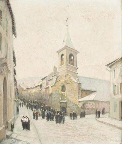 • Hiver à Yssingeaux, la sortie de la messe...