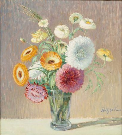 Vases de fleurs Ensemble de 2 huiles sur...