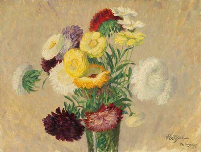 Vases de fleurs Ensemble de 5 huiles, signées...