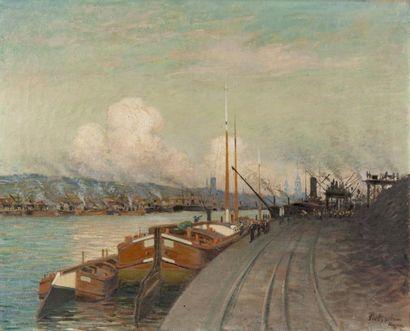 Péniches sur la Seine à Rouen Huile sur toile,...