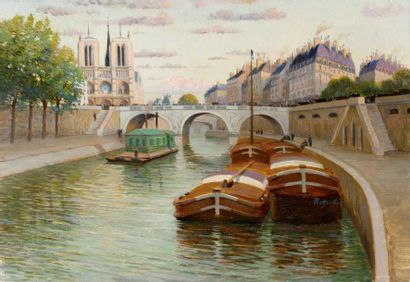 Péniches devant Notre-Dame de Paris Huile sur toile, signée à droite. 38 x 55c...