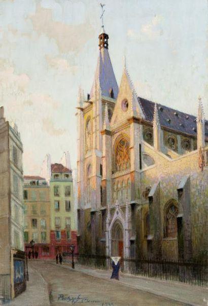 L'église Saint Séverin Paris Huile sur toile,...