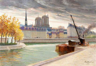 Les quais de Seine Huile sur toile, signée...