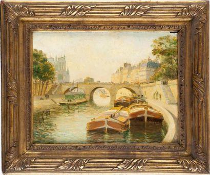 Péniche devant le pont Saint-Michel Huile...