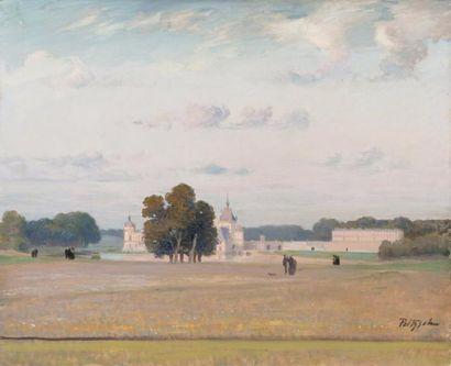 Le château de Chantilly Huile sur toile, signée en bas à droite. 60 x 72 cm