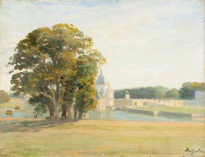 Château de Chantilly Huile sur toile, signée...