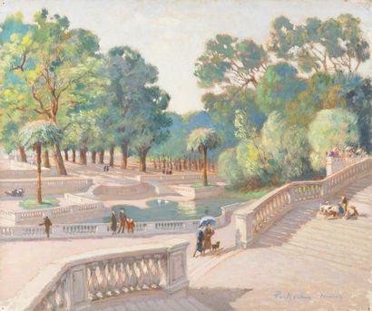 Le jardin de la Fontaine, Nîmes Huile sur...